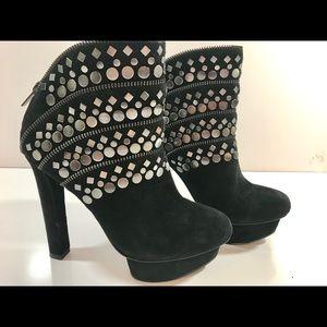 Pelle Moda Suede Ankle Boots Platform Metal Studs